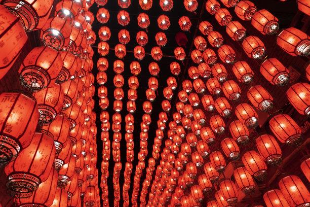 夜晚红色灯笼