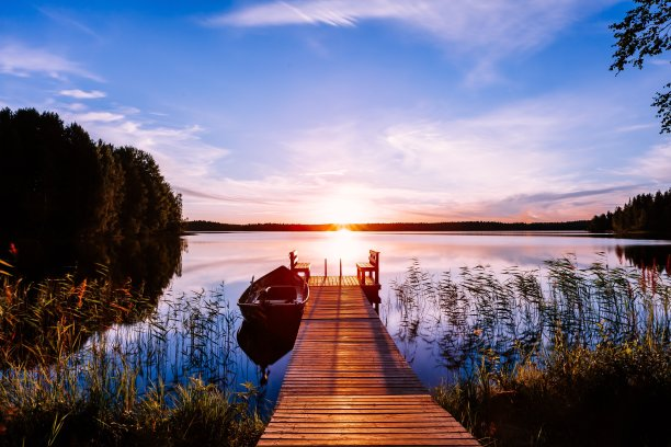 湖,木制,码头