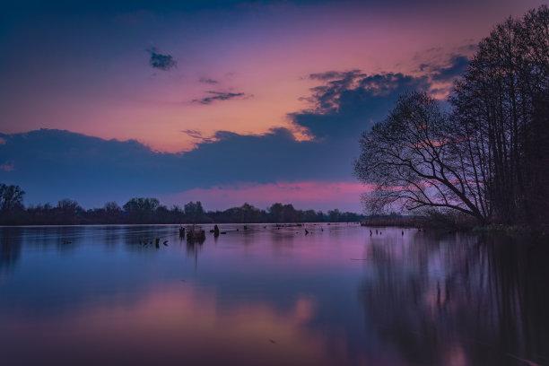 河流,黎明,自然