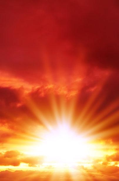 红色,天空,自然