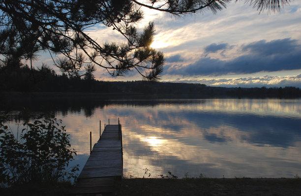 湖,古老的,栈桥码头