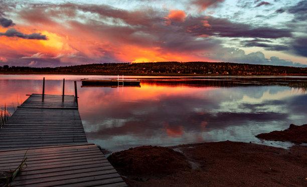 芬兰,湖,日落时分