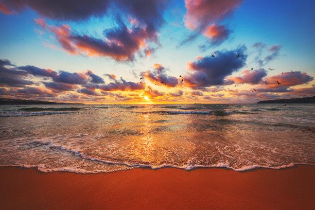 黎明,波浪,海洋
