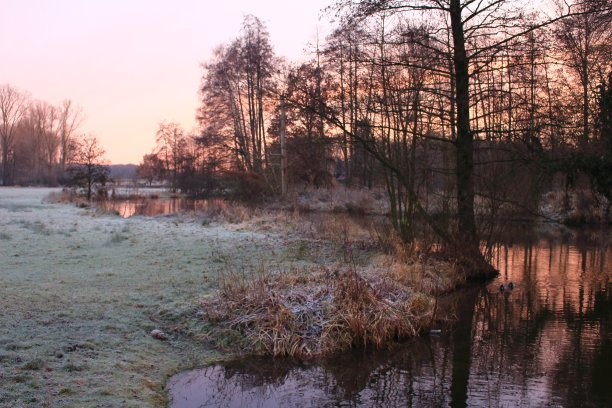 河流日光早晨