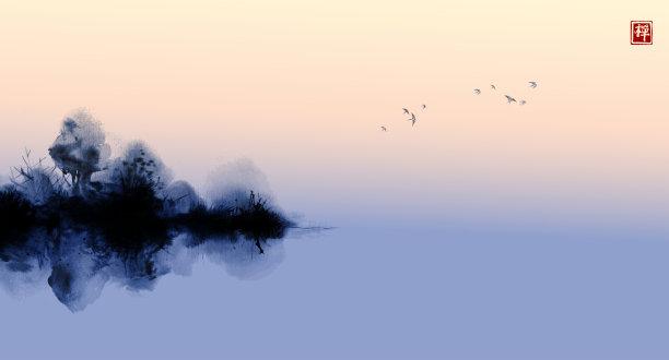 传统天空水墨画