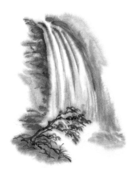 传统瀑布水墨画