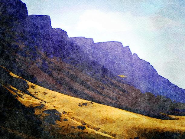 肯尼亚山脉绘画插图图片