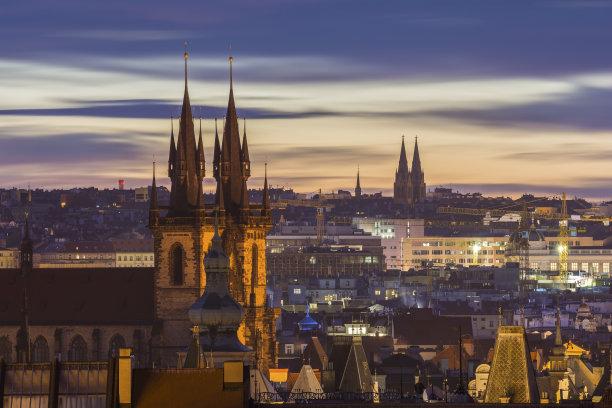 布拉格黎明都市风景