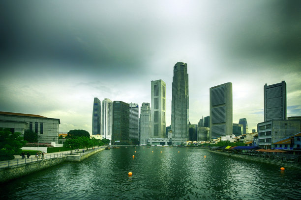 城市天际线新加坡市国际著名景点