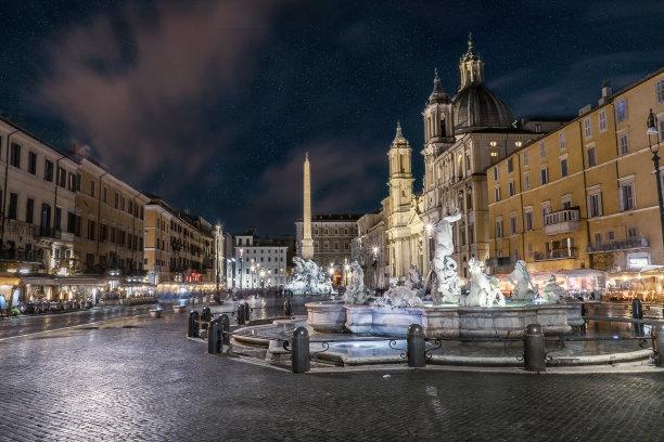罗马夜晚纳沃纳广场
