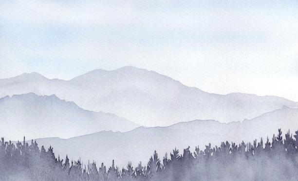 山绘画插图地形