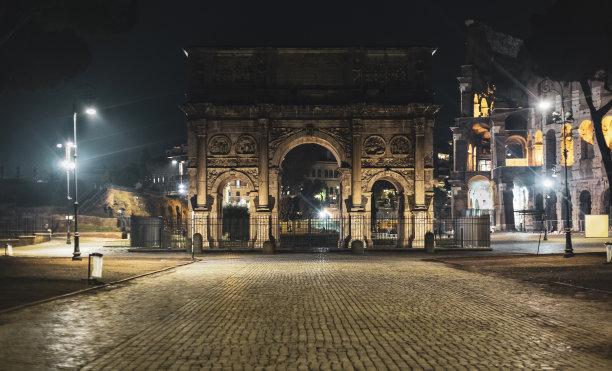 罗马夜晚君士坦丁大帝凯旋门
