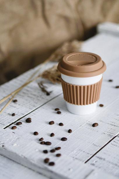 白色卡其布咖啡杯
