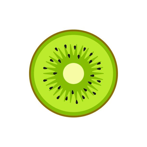 猕猴桃扁平化设计切片食物