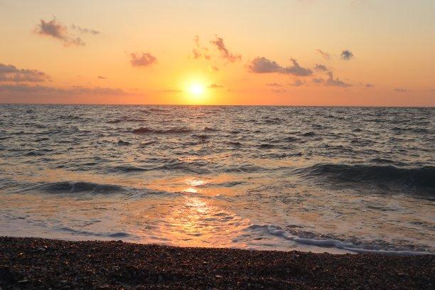 海岸线,橙色,波浪