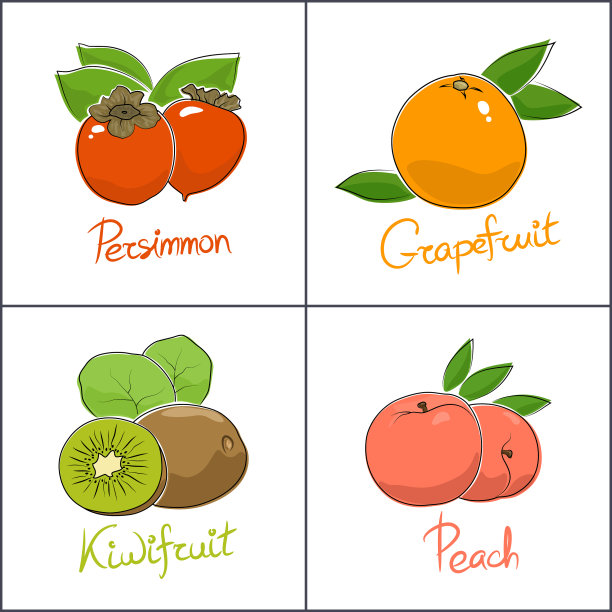 水果分离着色白色背景