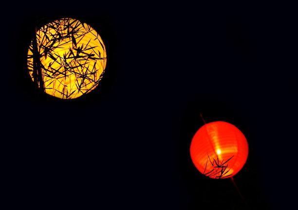 灯笼夜晚红色