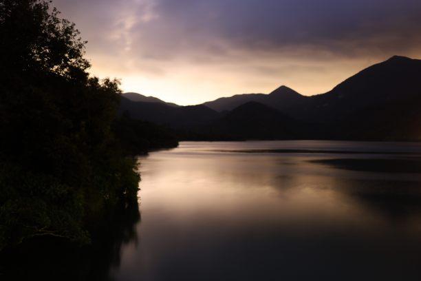 日落,山,河流