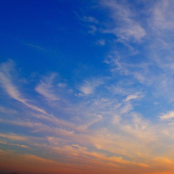多色的,日落,天空