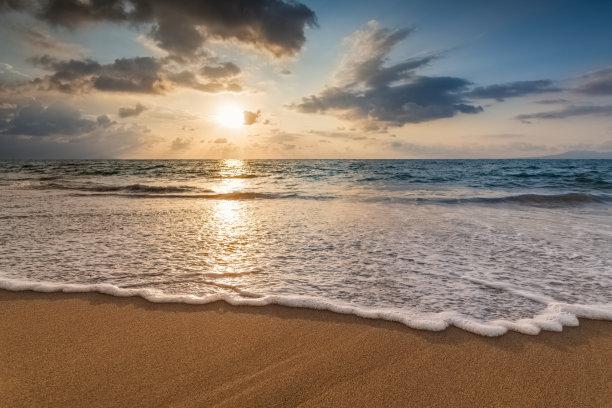 波浪,日落,超现实主义的