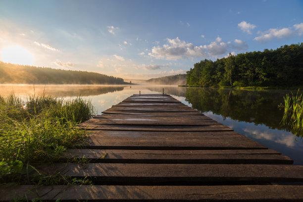 河流,日出,木制