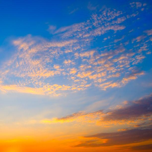 天空,日出,云