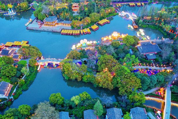 白鹭洲公园航拍视角南京