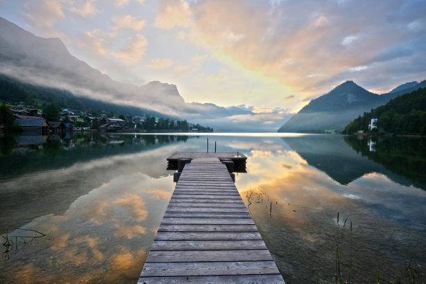 早晨,格伦德尔湖,云