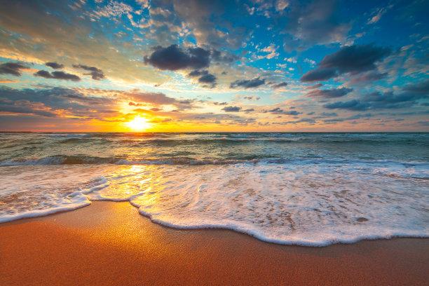 海洋,日出,海滩