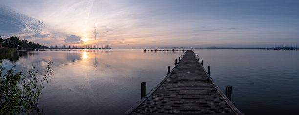 码头,日出,湖