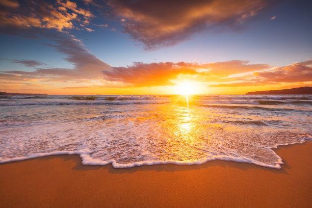 海洋,云景,日出