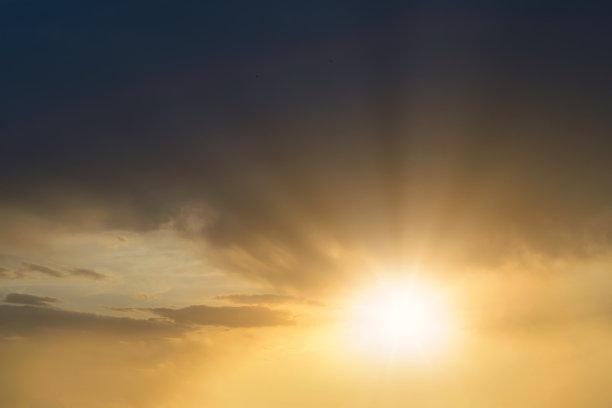 云景,天空,阳光光束