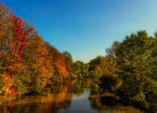 地形,河流,秋天
