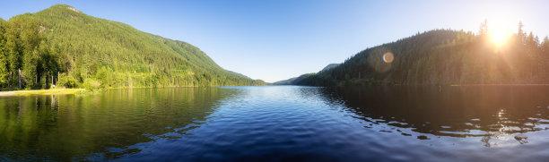湖,全景,加拿大