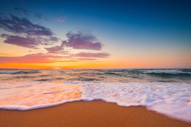 海滩,日出,海洋