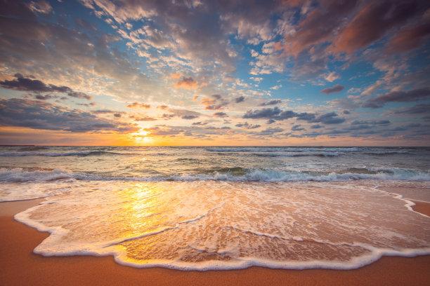 云景,海滩,海洋