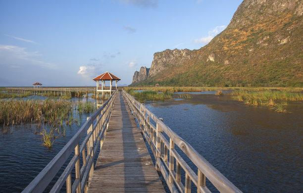 木制,桥,泰国